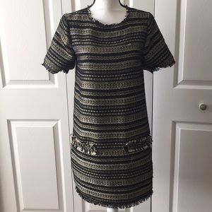 Dress Darling Gold Black Woven